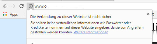 Darstellung einer unsicheren Website in Chrome